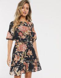Hope & Ivy ruffle mini dress in navy rose / frill hem dresses