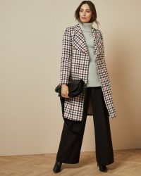 TED BAKER ABELLAA Houndstooth wrap coat in white