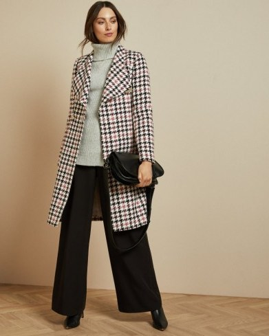 TED BAKER ABELLAA Houndstooth wrap coat in white - flipped