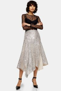 TOPSHOP IDOL Silver Asymmetric Sequin Midi Skirt / sparkly flared hem skirts