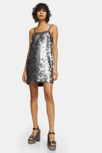 Topshop IDOL Silver Embellished Sequin Disc Slip Dress – shiny metallic party dresses