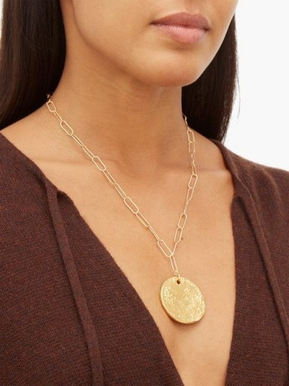 ALIGHIERI Il Leone 24kt gold-plated necklace | coin necklaces | disc pendants - flipped