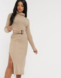In The Style x Billie Faiers knitted roll neck midi dress with belt in camel | sweater dresses