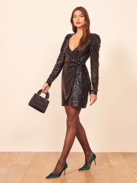 Reformation Ireland Dress in Ritz | sparkly plunging wrap dresses | sequinned party fashion