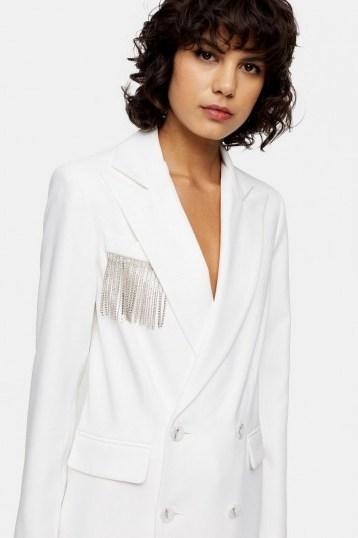 Topshop Ivory Diamante Fringe Blazer | party jackets - flipped