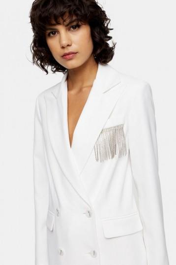 Topshop Ivory Diamante Fringe Blazer | party jackets