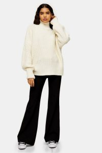 Topshop Boutique Ivory Roll Neck Jumper | neutral chunky knits