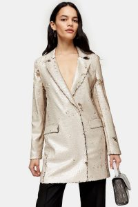 Topshop Ivory Sequin Blazer Dress | shimmering jacket dresses