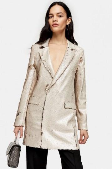 Topshop Ivory Sequin Blazer Dress | shimmering jacket dresses - flipped