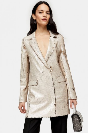 Topshop Ivory Sequin Blazer Dress | shimmering jacket dresses