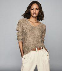 REISS JASMINE CHUNKY METALLIC KNIT JUMPER BRONZE ~ shimmering V-neck sweater