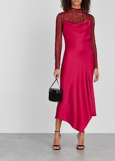 JONATHAN SIMKHAI Red lace and satin dress | layered slip dresses