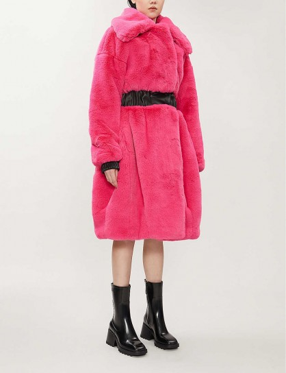 KARL ACCORDING TO CARINE Faux-leather-trimmed faux-fur coat in pink ~ bright chunky winter coats