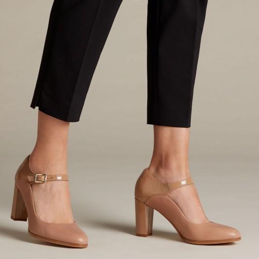Clarks Kaylin Alba in Praline combi / block heel Mary Janes