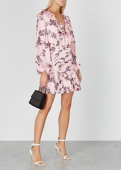 KEEPSAKE Belle floral-print satin mini dress in pink | ruffle trimmed balloon sleeved dresses - flipped