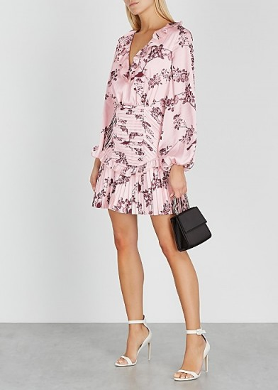 KEEPSAKE Belle floral-print satin mini dress in pink | ruffle trimmed balloon sleeved dresses
