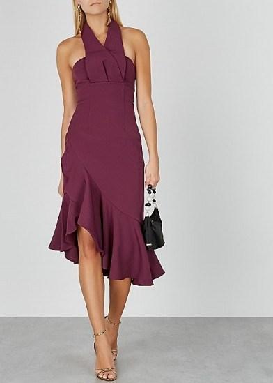 KEEPSAKE Delight halterneck cady midi dress in burgundy   evening halter fashion - flipped