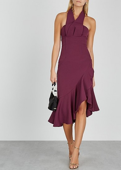 KEEPSAKE Delight halterneck cady midi dress in burgundy | evening halter fashion