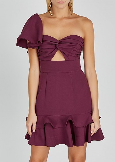 KEEPSAKE Delight ruffle-trimmed cady mini dress   one shoulder cut-out dresses