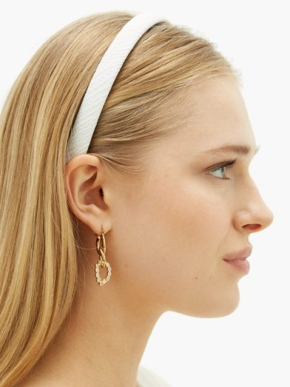 EMILIA WICKSTEAD Kensington satin-cloqué headband in white | headbands | narrow hair bands