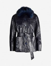 KITRI Stella croc-embossed faux-leather jacket in navy / fluffy collared jackets