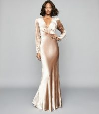 REISS KLARA VELVET PLUNGE NECKLINE MAXI DRESS GOLD ~ feminine vintage-look event gown