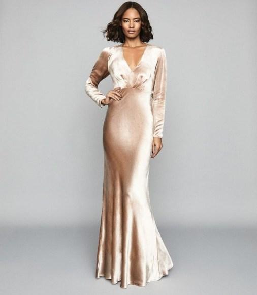 REISS KLARA VELVET PLUNGE NECKLINE MAXI DRESS GOLD ~ feminine vintage-look event gown - flipped
