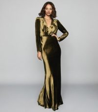 REISS KLARA VELVET PLUNGE NECKLINE MAXI DRESS KHAKI ~ event dresses with WOW impact ~ glamorous gowns Hollywood style