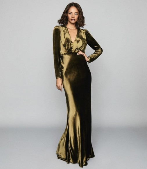 REISS KLARA VELVET PLUNGE NECKLINE MAXI DRESS KHAKI ~ event dresses with WOW impact ~ glamorous gowns Hollywood style