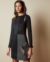 Ted Baker REDLO Knitted colour block dress in black | chic knitwear