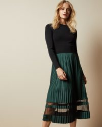 Ted Baker SCARLAH Knitted long sleeved dress – sheer panelled dresses