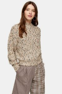 Topshop Knitted Textured Neppy Pointelle Jumper in Natural
