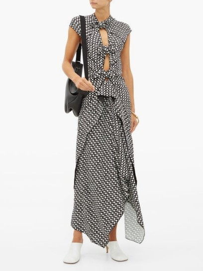 PROENZA SCHOULER Knotted cut-out checked maxi dress in black ~ monochrome checks