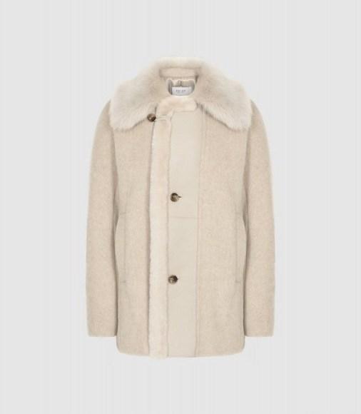 REISS KORA WOOL BLEND SHEARLING DETAILED COAT NEUTRAL ~ winter luxe ~ chic outerwear - flipped