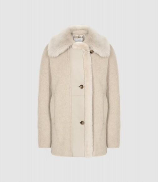 REISS KORA WOOL BLEND SHEARLING DETAILED COAT NEUTRAL ~ winter luxe ~ chic outerwear