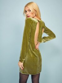 REFORMATION Kyra Dress in Pear ~ green open back mini
