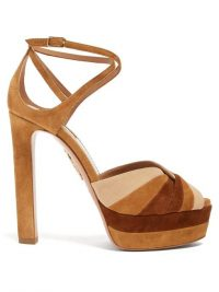 AQUAZZURA La Di Da tri-tone suede platform sandals in tan ~ 70s look platforms ~ seventies colours in fashion