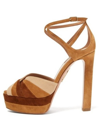 AQUAZZURA La Di Da tri-tone suede platform sandals in tan ~ 70s look platforms ~ seventies colours in fashion - flipped