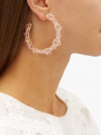 SIMONE ROCHA Large crystal-daisy hoop earrings in light-pink