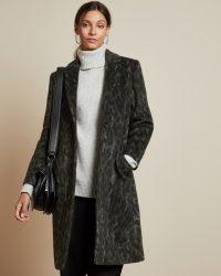TED BAKER ILLENA Leopard print cocoon coat in khaki