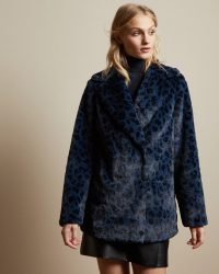 TED BAKER ZENAIDA Leopard print faux fur coat in dark blue