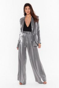 NASTY GAL Let's Glow Metallic Wide-Leg Pants in Silver