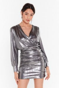NASTY GAL Let's Have a Good Shine Metallic Mini Dress in Silver