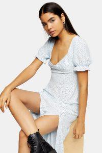 Topshop Light Blue Daisy Prairie Midi Dress