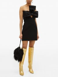 WANDLER Lina point-toe knee-high gold leather boots