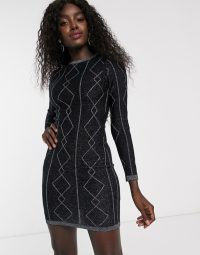 Lipsy diamond lurex tunic in black / evening bodycon dress