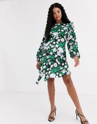 Liquorish balloon sleeve mini dress with drape detail in print