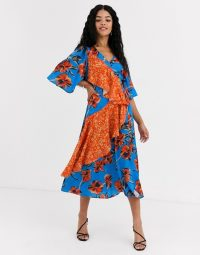 Liquorish midi dress in floral with contrast ruffle in blue and orange /mixed print dresses / statement ruffles