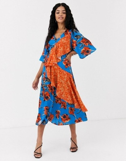 Liquorish midi dress in floral with contrast ruffle in blue and orange /mixed print dresses / statement ruffles - flipped