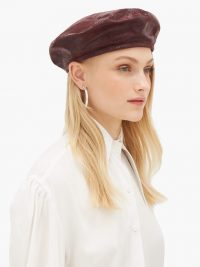HOUSE OF LAFAYETTE Lizard-effect suede beret in burgundy ~ glamorous berets ~ French look hats ~ chic accessory